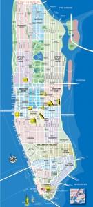 Kaart New York City - toeristische kaart Manhattan - NYC