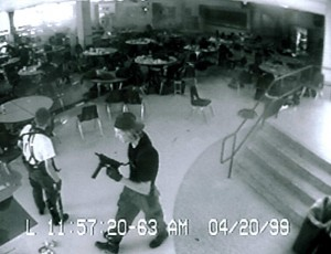 Eric and Dylan on their rampage in the school cafetaria