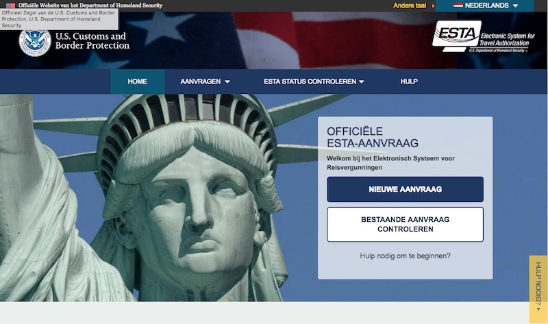 De officiële website van Homeland Security