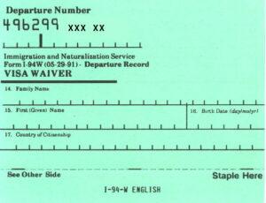 Het oude I94W-formulier